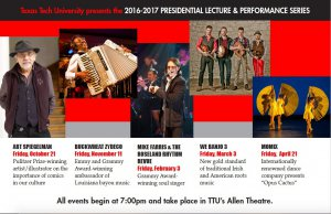 TTU Presidential Lecture and Performance Series @ Allen Theatre at Texas Tech | Lubbock | Texas | United States