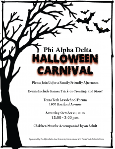 Texas Tech School of Law Halloween Carnival @ Texas Tech School of Law | Lubbock | Texas | United States