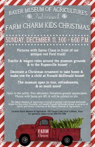 2nd Annual Farm Charm Kids Christmas @ Bayer Museum of Agriculture | Lubbock | Texas | United States