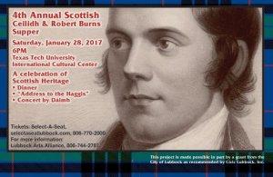 4th Annual Scottish Ceilidh & Robert Burns Supper @ Texas Tech International Cultural Center | Lubbock | Texas | United States