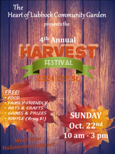 Heart of Lubbock Community Garden's 4th Annual Fall Harvest Festival @ Heart of Lubbock Community Garden | Lubbock | Texas | United States