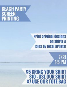 Beach Party: Screen Printing at CASP @ Charles Adams Studio Project | Lubbock | Texas | United States