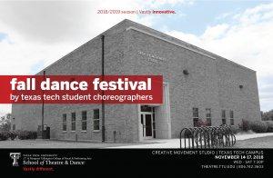 TTU School of Theatre and Dance presents Fall Dance Festival @ Creative Movement Studio  | Lubbock | Texas | United States