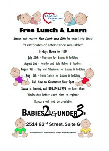 Free Lunch & Learn for Parents of Children Under 3 Years Old @ Children's Connections
