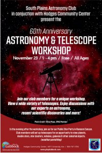 60th Anniversary South Plains Astronomy Club Astronomy & Telescope Workshop @ Hodges Community Center